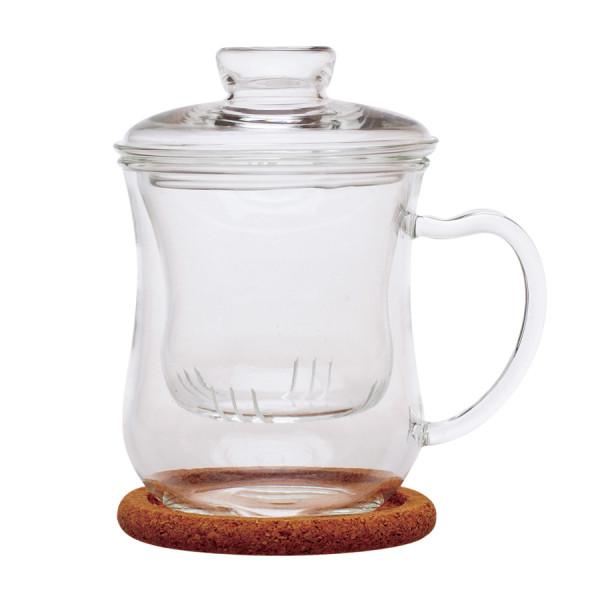 """Чашка из жаропрочного стекла """"Гиацинт"""" с заварочной колбой,крышкой и пробковой подставкой, 300 мл"""