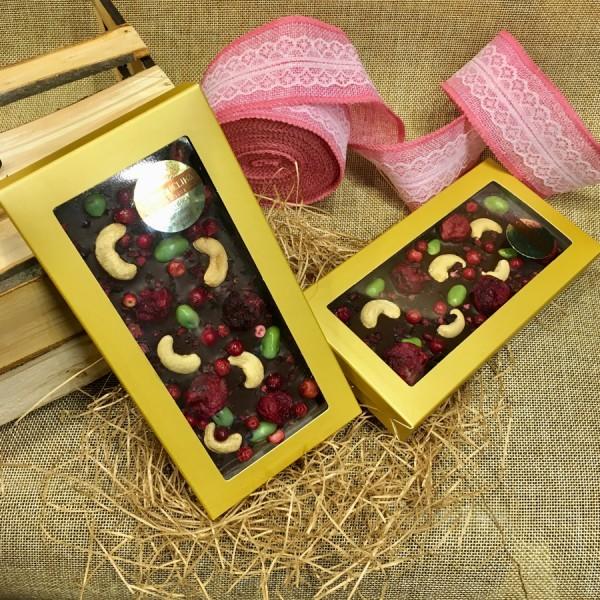 Шоколадная плитка 100 г БРУСНИКА-ВИШНЯ-КЕШЬЮ